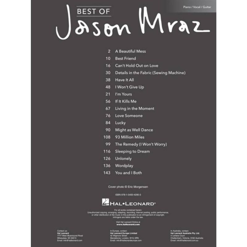 Best of Jason Mraz (Piano Vocal Guitar)