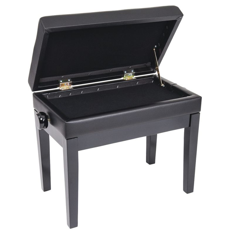 Kinsman Deluxe Adjustable Piano Stool with Storage in Satin Black