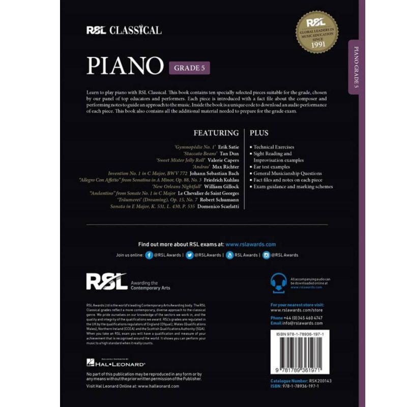 RSL Classical Piano Grade 5 from 2021