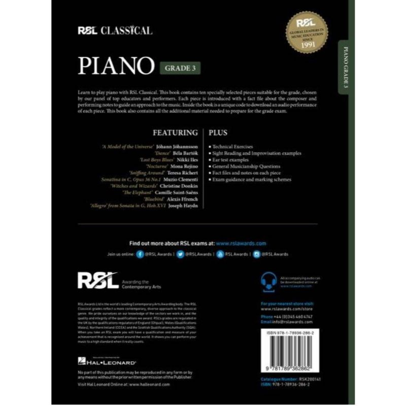 RSL Classical Piano Grade 3 from 2021