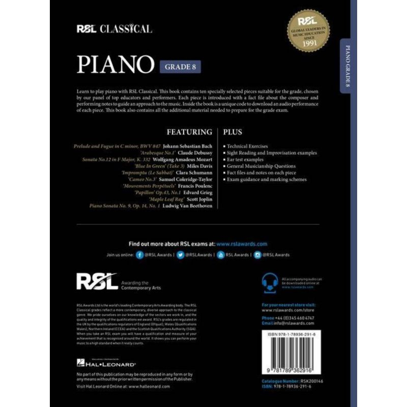 RSL Classical Piano Grade 8 from 2021