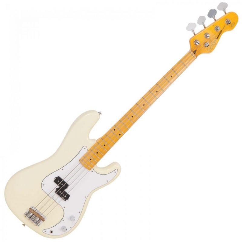 Vintage V4 Bass Maple Neck Vintage White
