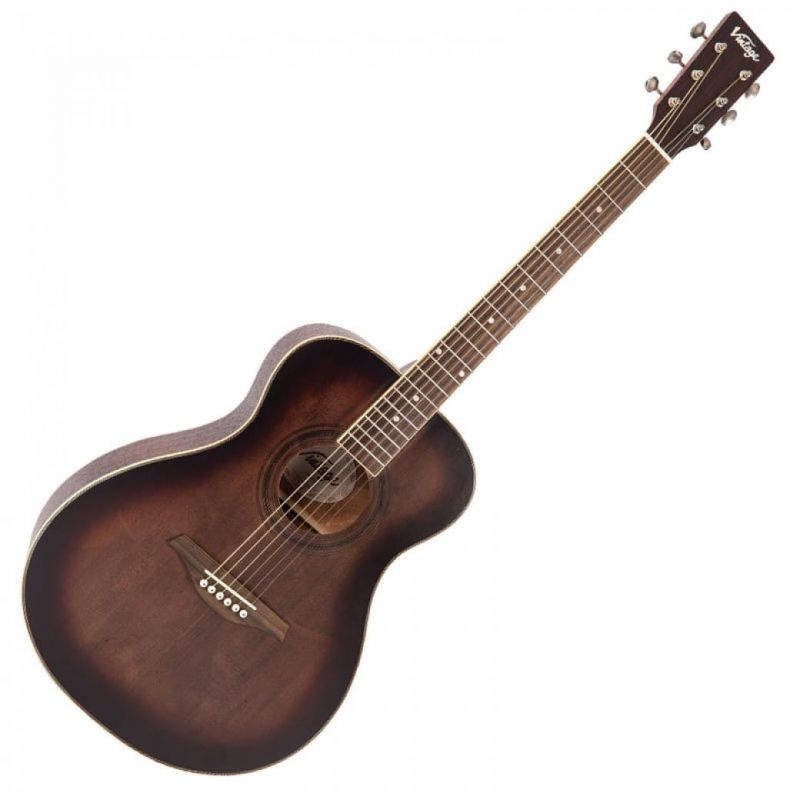 Vintage V300 Folk Guitar Solid Top Antiqued Finish