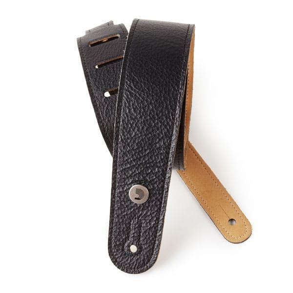 D'Addario Slim Garment Leather Guitar Strap, Black