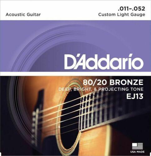 D'Addario Set Acoustic Guitar 80 20 Bronze Custom Lite Strings