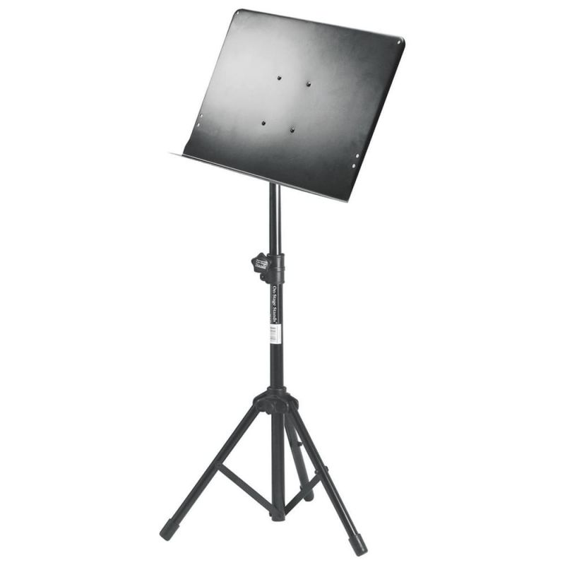 On Stage Conductor Stand with Tripod Folding Base, Black Metal