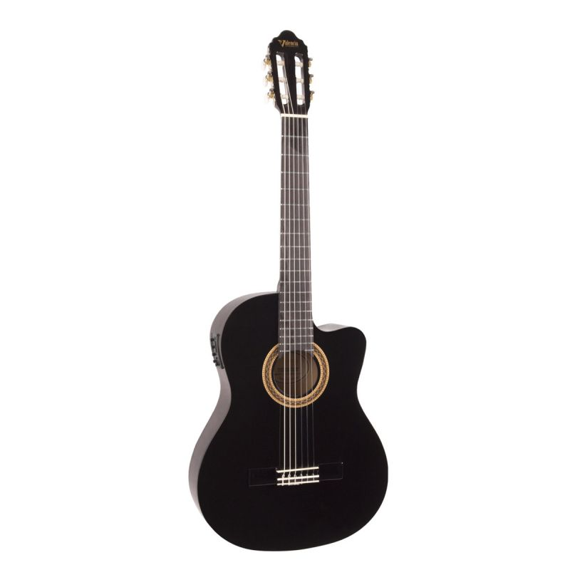 Valencia VC104CEBK Full Size Electro Classical Guitar, Black