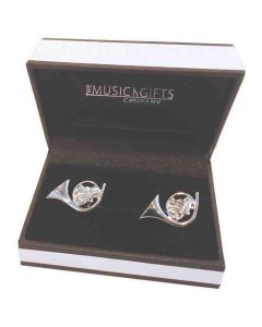 Music Gifts Cufflinks French Horn Silver Plated
