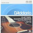 D'Addario Flat Tops Phosphor Bronze Acoustic Guitar Strings, Light, 12-53